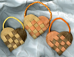 Trio of Autumn Woven Baskets for a Nature Table or Children's Purses (Pictures by Ann) Tags: christmas autumn decorations orange brown holiday fall wool leaves children gold basket treasure walk branches waldorf decoration sew felt swedish yarn purse danish baskets trio woven montessori purses embroidered collect autumnal scandinavian acorns holders treasures holder sewn woolfelt handwoven naturetable allnatural wovenheart blanketstitch handembroidered cottonyarn naturalkids naturewalks sewnbyhand plantdyed charlottemason wovenbaskets etsymom embroideredbyhand childrenspurses treasureholders