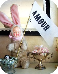 """Amour"" (one of my happy Parcel buys) on display in our livingroom (holiday_jenny) Tags: rabbit bunny love shop vintage shopping french cards newjersey aqua flag nj rubber plush stamp amour parcel letterpress trim pompom wendyaddison"