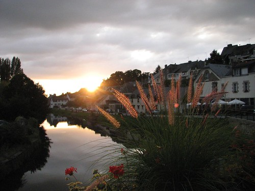 The sun setting over the canal at Josselin in Brittany. Photo: Martin Selway