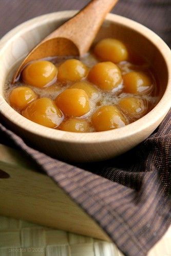 Biji Salak - Sweet Potato Balls in Palm Sugar Syrup
