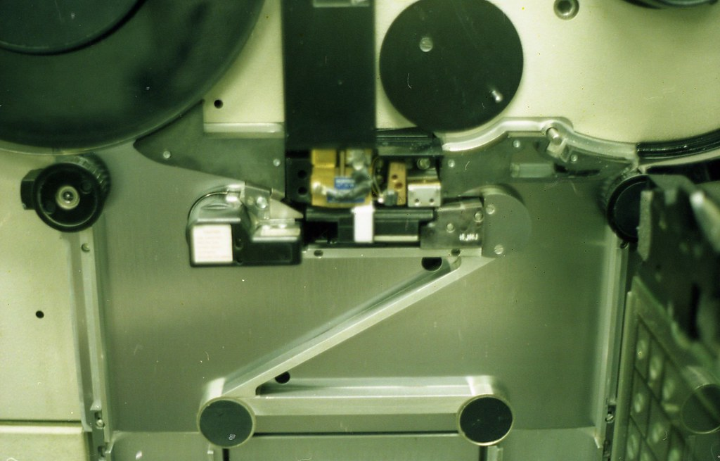 Close up of tape drive read-write heads