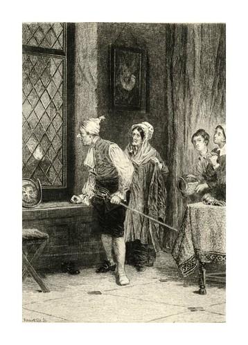 018- El anticuario se arma- Dibujado por A.H. Tourrier y grabado por H. C. Manesse para la novela The Antiquary de W. Scott