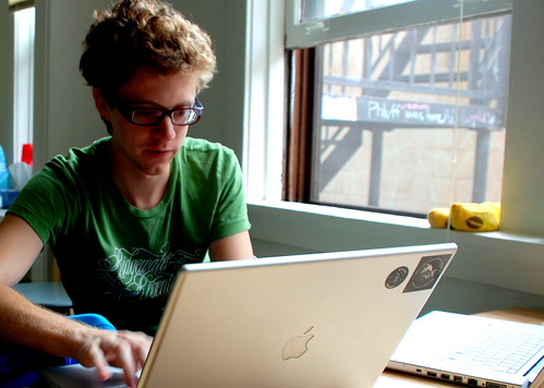 Pat on his Mac (next to another Mac) by kevygee, on Flickr