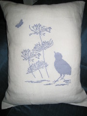 Blue Bird Embroidered Pillow (steph.clifford) Tags: blue bird butterfly cross stitch linen embroidery pillow cushion embroidered