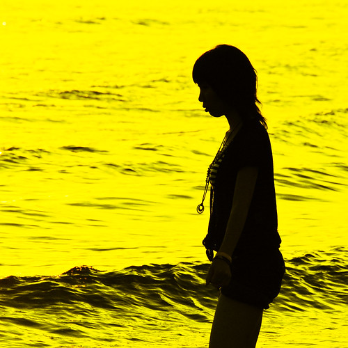 Silhouette on yellow