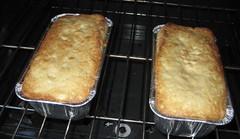 baking banana bread: rotating the loaves