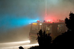 House Fire - Truck In The Smoke (bovinemagnet) Tags: blue light red color colors truck fire colours smoke australia melbourne victoria burn blaze catchy beams 50mmf14d    firehouseburnblaze