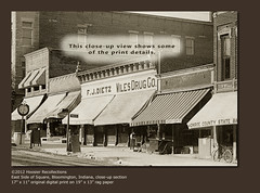 East Side of Square, Bloomington, Indiana, close-up section (Hoosier Recollections) Tags: horses people usa signs man men history cars sepia buildings advertising clothing indiana streetscene bicycles transportation streams roads storefronts bloomington buggy clocks buggies automobiles businesses wagons realphoto hoosierrecollections