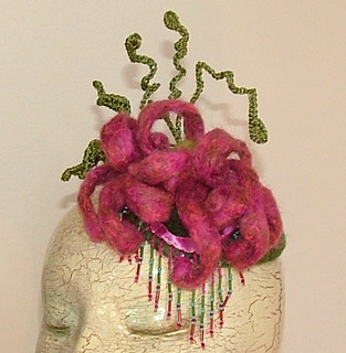 Fascinator Curly Felted Dahlia pattern by Renate Kirkpatrick