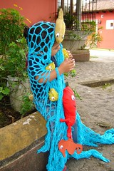 Halloween Costume: The Ocean (lachapina) Tags: ocean fish halloween water costume recycled softie upcycled