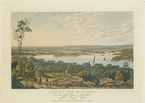 Distant view of Sydney from the light house at South Head, New South Wales 1825 (Joseph Lycett)