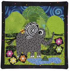 elephant2 (Ronnie Lewison) Tags: elephant abstract children colorful whimsical wallhanging fused artquilt cottonfabric rawedge