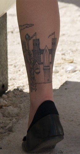 Castle Lower Leg Tattoo