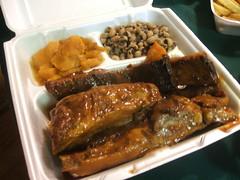 Ribs, sweet potatoes, black eyed peas