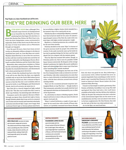 Metro Magazine - March 2009 - Epic Pale Ale
