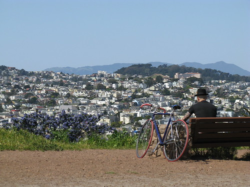 Tattooed hepcat having Zen moment on Bernal Hill on March 30, 2009?