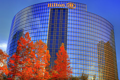 Hilton Hotel Lincoln Financial Center (GMills31) Tags: blue trees sunset red sky clouds reflections dallas texas fallcolor perspective foliage dfw hdr goldenhour photomatixpro cs5 hiltonhotellincolnfinancialcenter