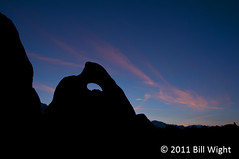 Alabama Hills Shark-Fin Arch at Sunset (Bill Wight CA) Tags: california mountains photographers sierra boulders granite peaks highsierras lonepine highsierra alabamahills billwight mountainhighworkshops copyright2011
