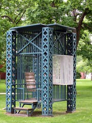 """""""A Gazibo for One Anarchist Emma Goldman,"""" Steel construction by Siah Armajani, Beloit College campus (ali eminov) Tags: wisconsin artists colleges sculptures beloit beloitcollege collegecampus sculptors universitycampus gazibo steelconstruction siaharmajani"""