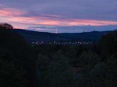 Red Lights On A Red Sky (K-Burn) Tags: woodland dark lights twilight fife gorge mast gloaming dairsie duraden pitscottie
