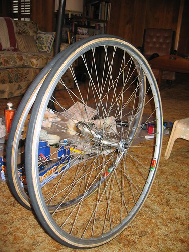 Wheels with repacked hubs.  One is shinier than the other