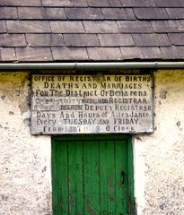 Notice over door of derelict Cottage!  # 101 Explore (MarsW) Tags: ireland abandoned decay cottage explore marriages northernireland tp derelict uninhabited births deaths limavady officeofregistrar castlerocklimavady seacoastroad