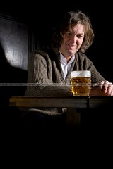 James May (Photosmudger) Tags: portrait london dark pub moody flash ale cardigan strobe lightroom tvpresenter topgear alienbees pintpot jamesmay