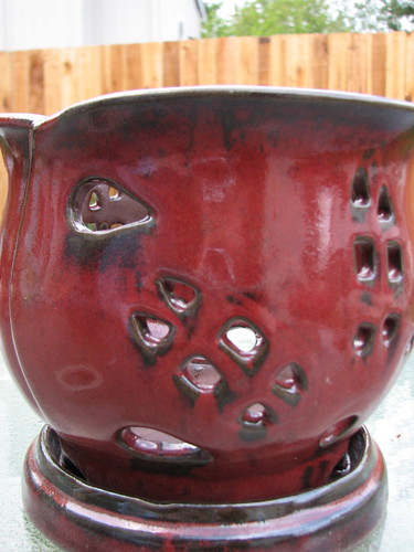 Red Orchid Pot from Thrift Store