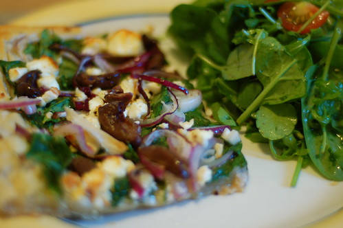 Spinach, feta and olive tart