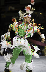 2007 Powwow (Smithsonian Institution) Tags: male green leather dance feathers competition fringe tribal ethnic folkdance nationalmuseumoftheamericanindian headdress smithsonianinstitution colorphotograph nativeamericandress nativeamericandance poww adultmalenativeamericandancer modernpowwow2007