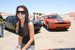 Audrina Patridge with Challengers in the back ground (dodge challenger1) Tags: show cars car tv muscle hills pony mtv dodge celebrities hemi 2008 2009 v8 challenger patridge audrina dodgechallenger1