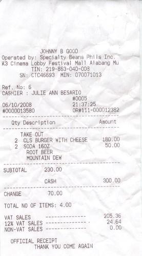 Narnia food receipt