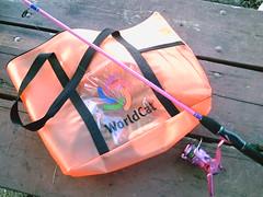 WorldCat Fishing Bag & my pink fishing pole