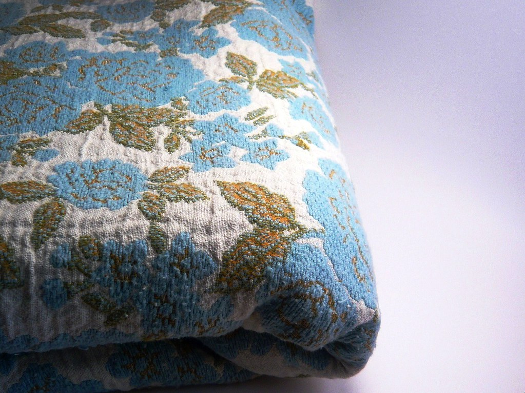 vintage blue & green floral fabric