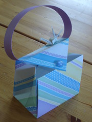 Paper purse with crane (Makalaus) Tags: pink blue paper origami purple crane stripes purse gift button handbag giftbag origamibird