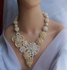 The Promise (DAINTYCROCHETBYALY) Tags: summer flower wooden lace statement clover beaded ecru irishcrochet freshwaterpearls crochetnecklace daisyflower weddingnecklace bonecolor