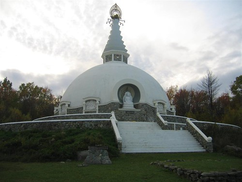 Angled view of the Peace Pagoda