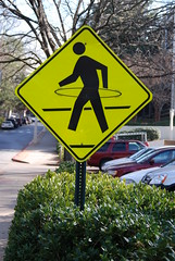 Athens: Hula-Hoop Crossing (StGrundy) Tags: summer usa college dawg yellow altered campus georgia nikon university traffic unitedstates south streetsign pedestrian athens bulldog explore southern caution hoolahoop uga crosswalk 2008 collegetown dawgs hulahoop bulldogs smalltown universityofgeorgia crossingsign clarkecounty crosswalksign pedcrossing godawgs explored interestingness402 i500 d80 explore24jul2008 stgrundy