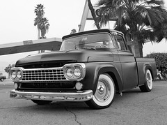 1958 Black (1957 58 59 60 Ford F-100 F 100 Pickup Trucks) Tags: show california old school two white hot classic ford car wheel shop hub truck vintage wagon soldier lights nice rat place panel 1st cab tail low iraq contest caps pickup f100 daily coker rake bumper f 1958 1957 rod driver chopped 100 primer walls 20 van custom rims rider tow tone carshow gi oif 1959 slammed stance 1960 bfg steelies vintiques
