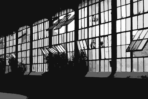 Windows in Abandoned Greeville SC Factory - B&W_IMG_3046