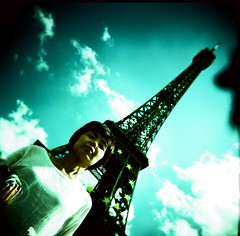 we are tourists (bobby stokes) Tags: blue paris france tower 120 film mediumformat holga xpro crossprocessed fuji eiffeltower toycamera lofi eiffel squareformat latoureiffel fujifilm analogue provia nao naoko trashcam fujicolor holga120gcfn   fujichromeprovia400xrxp