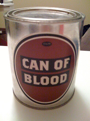 Brian bought me a can of blood from Dave Eggers' pirate store thinger by wellohorld.