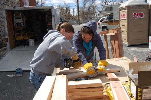 Building benches during Alternative Spring Break