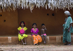South Indian Kids In Front Of Their Adobe House, Madurai, India (Eric Lafforgue) Tags: roof boy india house color colour building horizontal architecture kids children kid day child grandmother indian fulllength adobe indie hindu indi enfant groupofpeople indien couleur hind indi inde hodu greyhair indland  hindistan indija   colorfulclothes ndia hindustan  9362  lafforgue adobehouse   hindia  bhrat  indhiya bhratavarsha bhratadesha