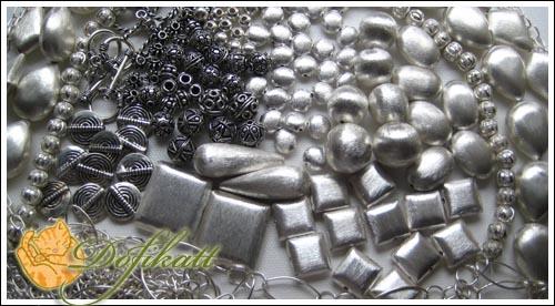 Entrepiezas y cuentas de plata