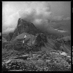 ... (ManWithAToyCamera) Tags: diy hasselblad plus hp5 ilford dolomites rifugio helipad windsock 503cx damian78 piandicengia