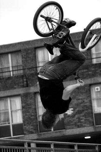 upside down bmx bike jumper