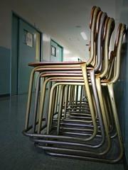Hallway at a highschool (tanakawho) Tags: door wood city school light urban metal tokyo chair floor stuck object pipe ceiling line hallway highschool linolium tanakawho 1on1objectsphotooftheweek 1on1objectsphotooftheweekseptember2008