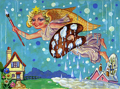 CHRISTMAS ANGEL (Mr.Scrimmage) Tags: christmas xmas blue snow art childhood tattoo illustration angel painting paul wings paint acrylic allen kitsch card 1950s childrens 50s drips greetings 1950 lowbrow juxtapoz