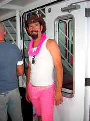 Pantalooned Cowboy (srw1961) Tags: cruise pink man hat cowboy tourist lei lacey tacky package bulge lean pantaloons